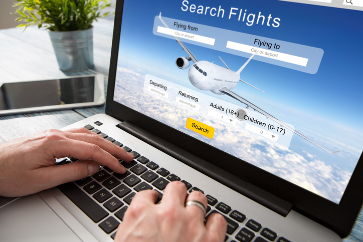 booking flight travel traveler search ticket reservation holiday air book research plan job space technology startup service professional now marketing equipment concept - stock image