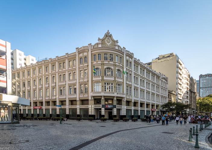 Curitiba, Brazil - Aug 23, 2017: Palacio Avenida (Avenida Palace) - Curitiba, Parana, Brazil