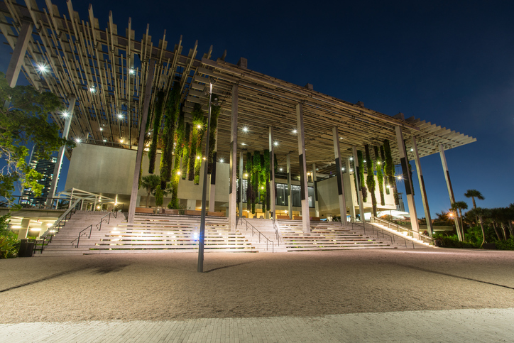 Miami, FL, USA - OCTOBER 4, 2015: The Perez Art Museum Miami (PAMM) is a contemporary art museum designed by Herzog & de Meuron located in Downtown Miami, Florida.