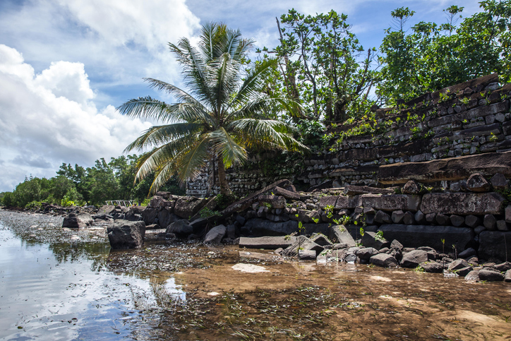 The ruins of Nan Madol in Pohnpei, Micronesia. In 2016, Nan Madol was officially recognized as a UNESCO World Heritage Site
