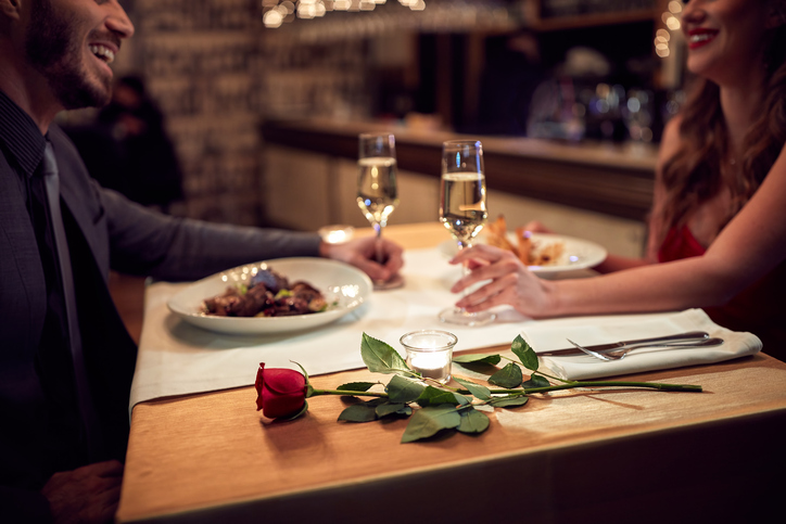 Couple have romantic evening in restaurant
