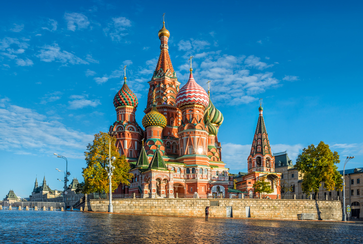 St. Basil's Cathedral in Moscow's Red Square and the blue sky