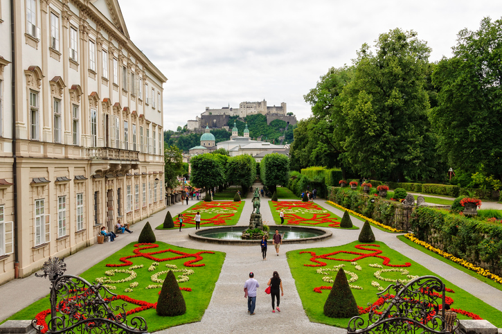 Salzburg, Austria - July 9, 2012: Flowery parterres in the Mirabell gardens