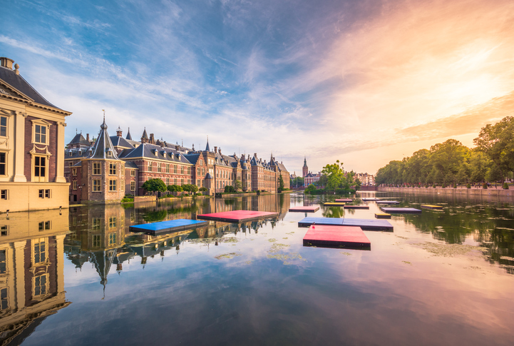 The Hofvijver Pond (Court Pond) with the Binnenhof complex in The Hague, Netherlands