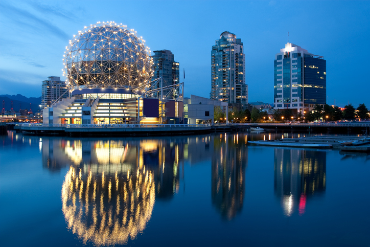 Vancouver's modern science world complex situated on False Creek.