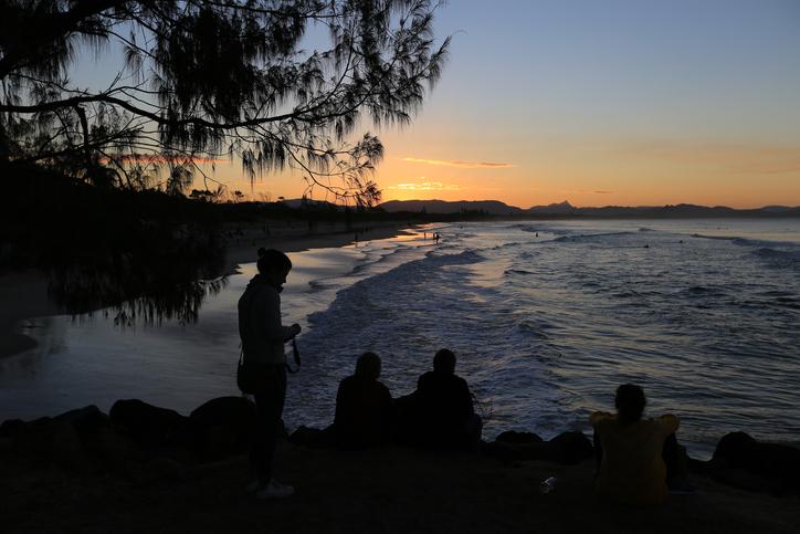 A beautiful sunset at Belongil Beach in Byron Bay in NSW