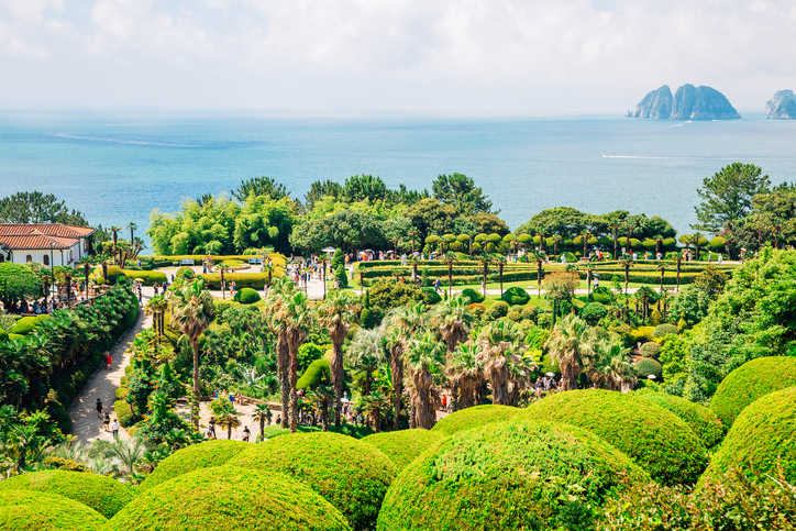 Oedo-Botania island, garden scenery at summer day in Geoje, Korea