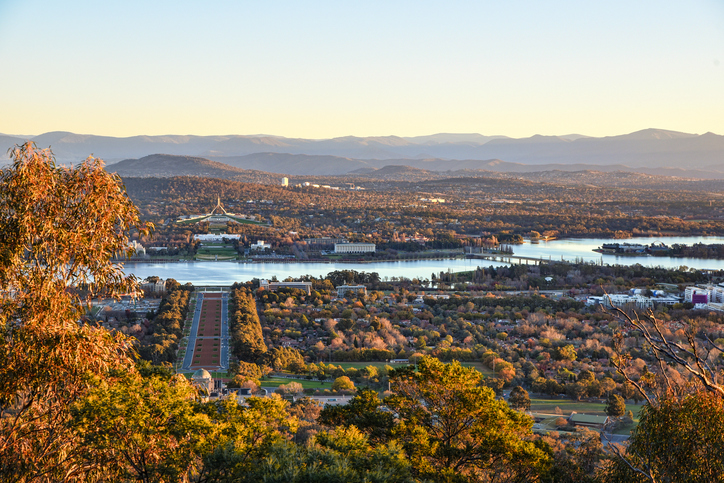 Canberra, Australia, 12 June 2016. From Mount Ainslie, it a strategic position to enjoy the sunset over Canberra city and the Brindabella hills.