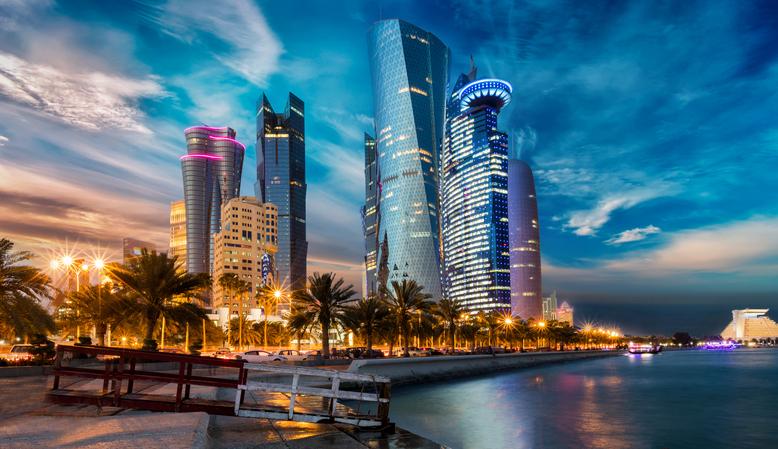 Impressive sunset over Doha's City Center