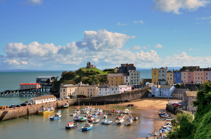 """Picturesque view of boats in Tenby Harbour, with its clusters of colourful painted houses, and Castle Hill"""