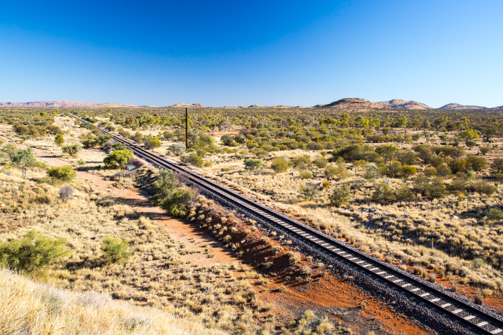The famous Ghan railway near Alice Springs extends all the way to Darwin in Northern Territory, Australia