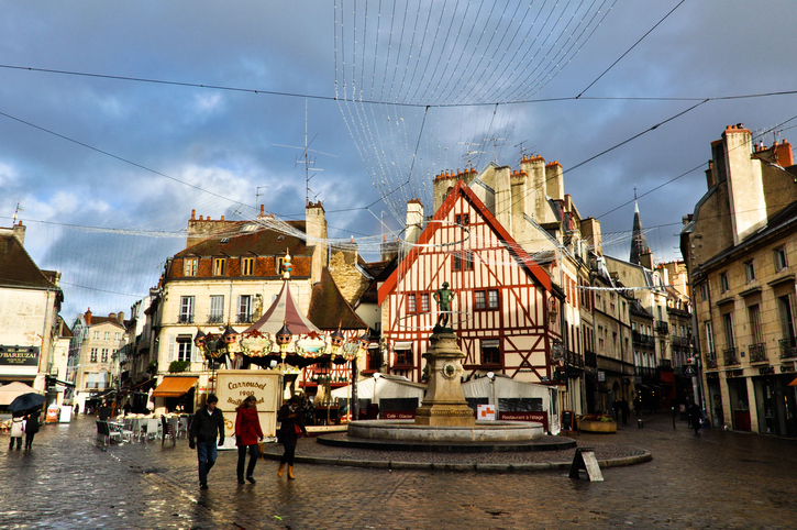 Dijon, France - December 4, 2012: Old Town of Dijon, France. The city is the capital of the Burgundy region. Many exchange students from all around the world come to Dijon every year.