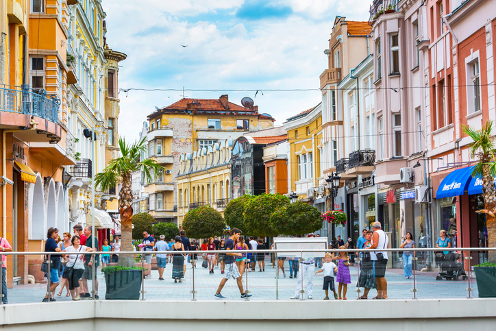 Plovdiv, Bulgaria - September 3, 2016: City center street with houses and people around