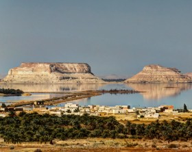 Panorama of Siwa lake and oasis, Egypt