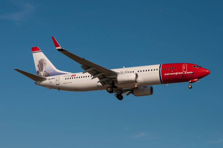 Copenhagen - July 2013: Norwegian Boeing 737-800 in the air