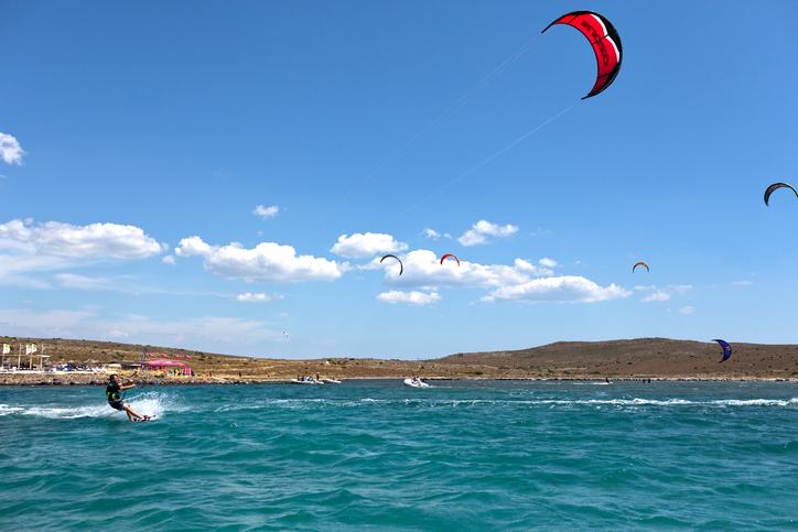 Cesme, Turkey, June 28, 2015: Kitesurfing in Alacati Cesme.