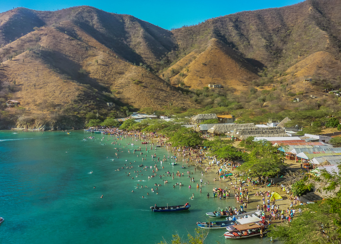Breathtaking landscape aerial view of the bay of Taganga, a famous caribbean watering place of Colombia, South America.