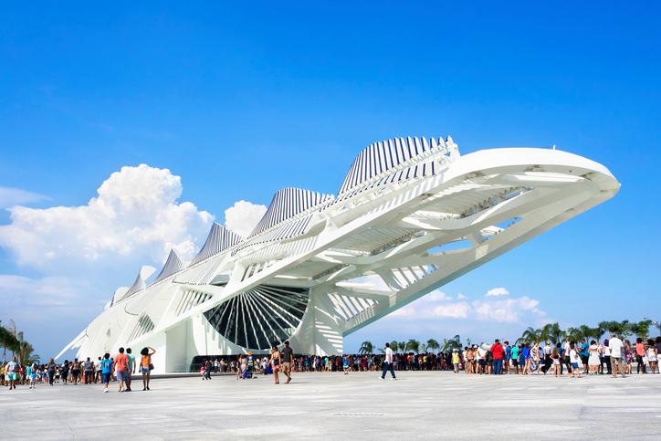 Rio de Janeiro, Brazil - December 19, 2015: People visiting the Museum of Tomorrow (Museu do Amanha), designed by Spanish architect Santiago Calatrava, in Rio de Janeiro, Brazil.