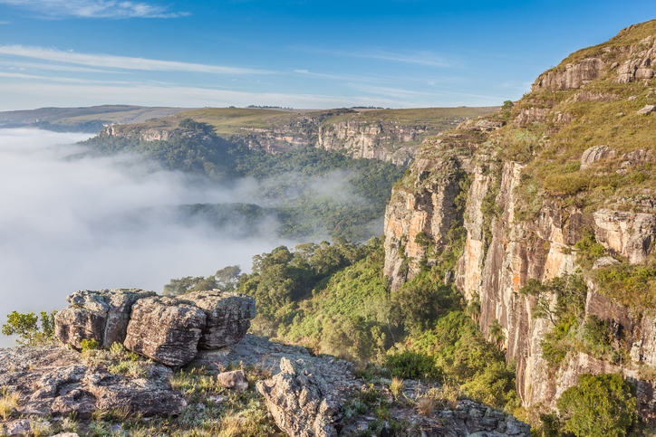 Dawn with fog at Guartela Canyon - sixth largest canyon in the world in length - Tibagi/ Parana - Brazil