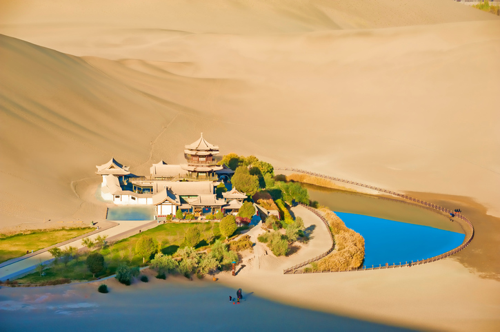 """""""Crescent Spring and Mingyue Pavilion in the morning, Dunhuang of ChinaPlease see other similar pictures from my portfolio:"""""""