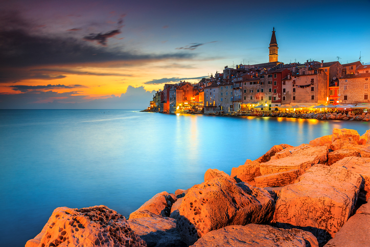 Spectacular romantic old town of Rovinj with magical sunset,Istrian Peninsula,Croatia,Europe