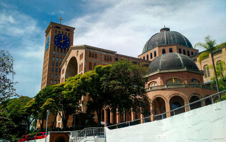 North Aparecida Basilica with clock and crucifix