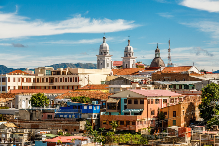 View to the city center with old houses and Basilica of Our Lady of the Assumption, Santiago de Cuba, Cuba