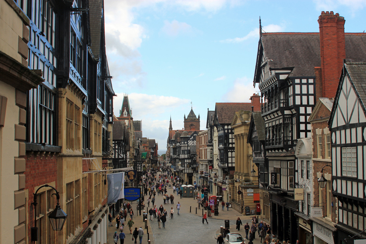 View of Chester City Centre showing the Tudor buildings and quaint main shopping street