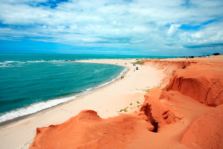 Red beach of Canoa Quebrada in Ceara state brazil