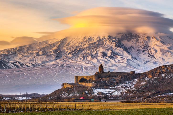 Sunrise over Ararat in Armenia with Khor Virap Monastery