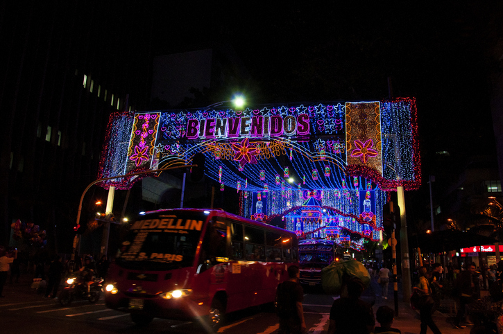 Medellin,  Colombia - December 14, 2016: Some Christmas decoration on the streets in Medellin, Colombia