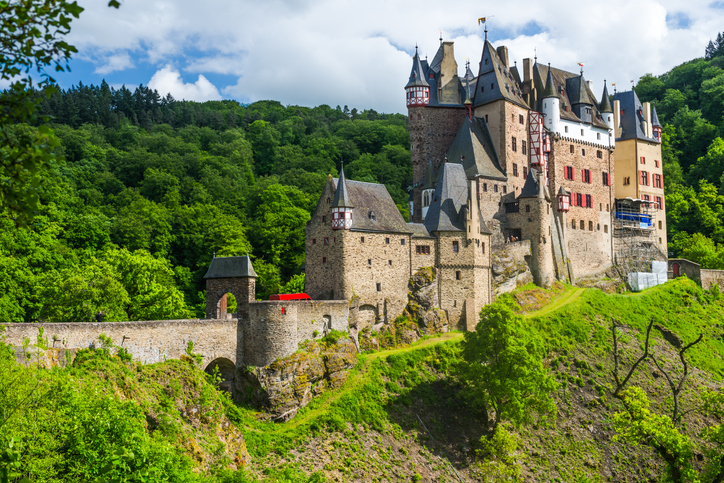 Eltz, Germany - May 12, 2014: Eltz is a medieval castle in Germany  surrounded by forest in the hills above the Moselle river between Koblenz and Trier