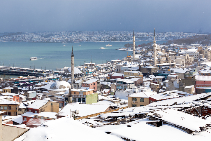 Cityscape of Istanbul in snow