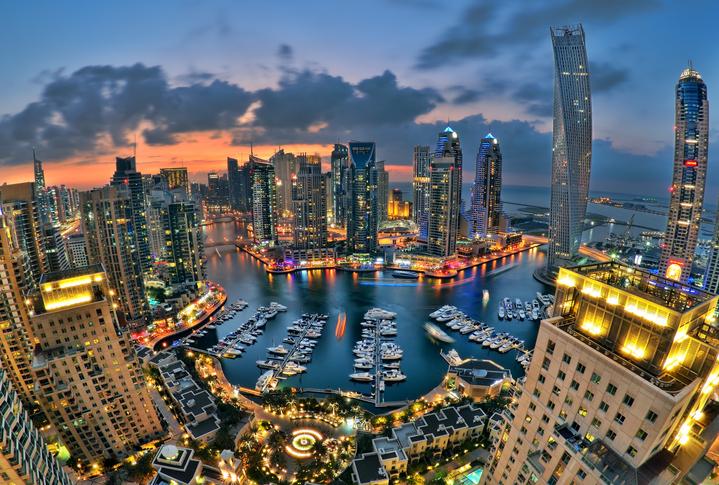 Dubai Marina skyline in the evening, which is called new Dubai.
