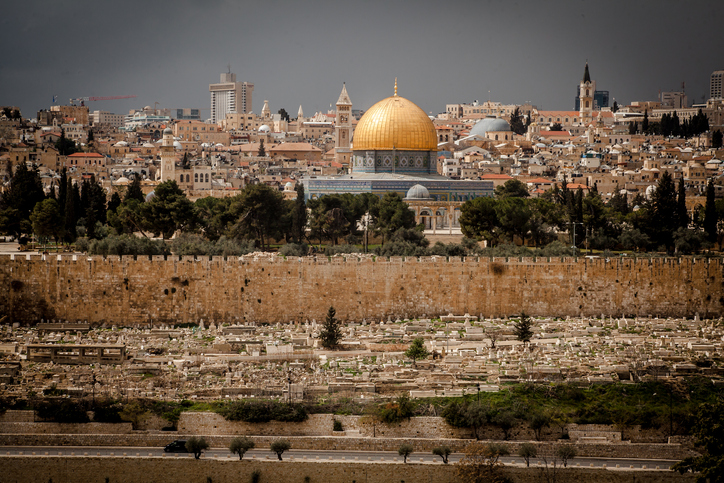 View on the landmarks of Jerusalem Old City,