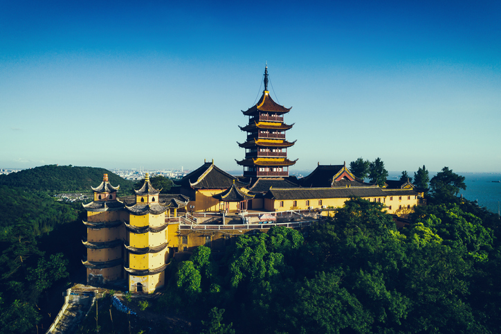 Jiming Temple sits atop a hill overlooking Nanjing, China.