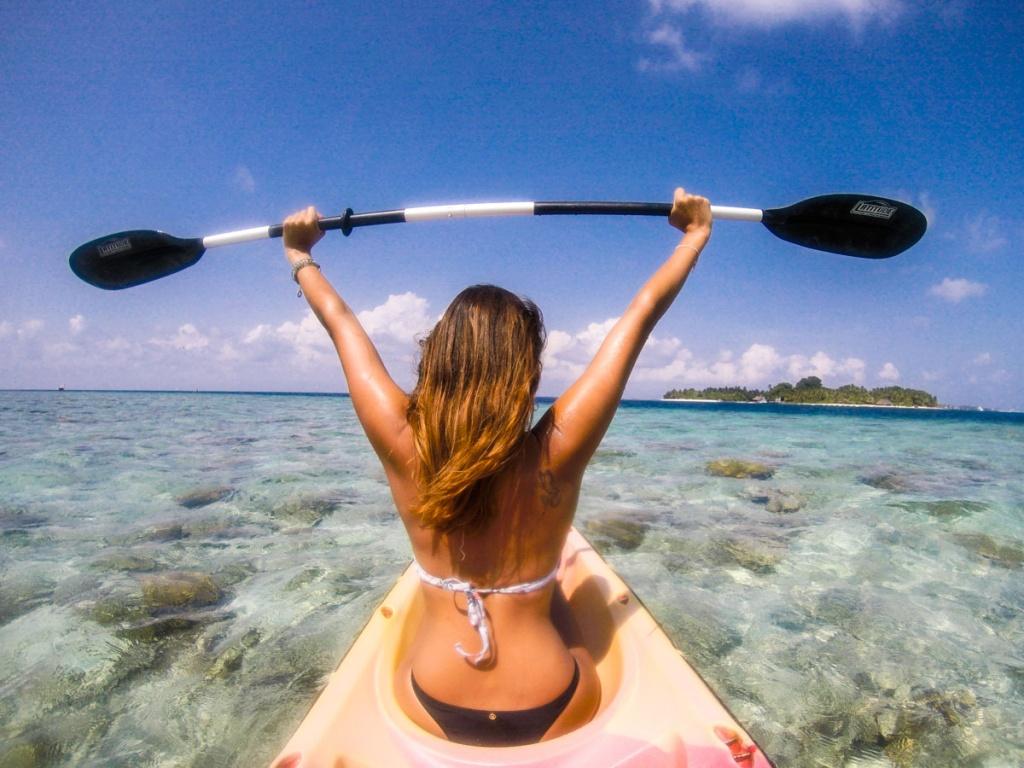 Passeio de kayak nas Maldivas