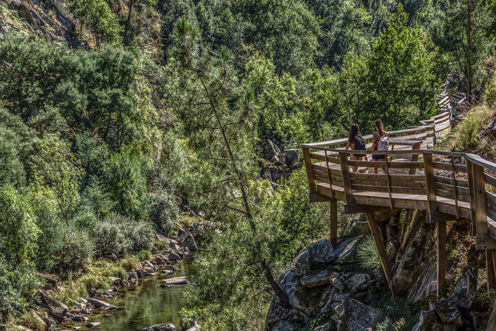 Arouca / Portugal - 10 12 2018 : View of people walking on wooden suspended pedestrian walkway, overlooking the Paiva river
