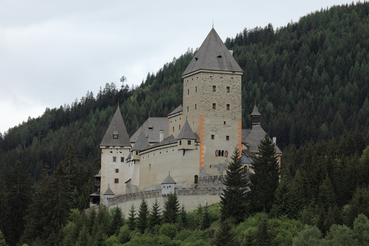 Mauterndorf, Austria - May 21, 2015: The Towers of the Castle of Moosham in the Austria Alps