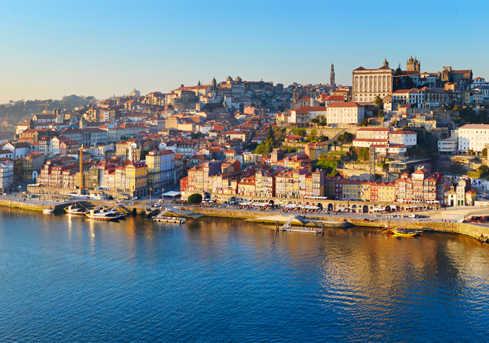 Panorama of Porto Old Town at sunset. Portugal