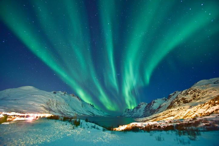 Aurora Borealis in Ersfjordbotn, Tromso Norway during winter season.