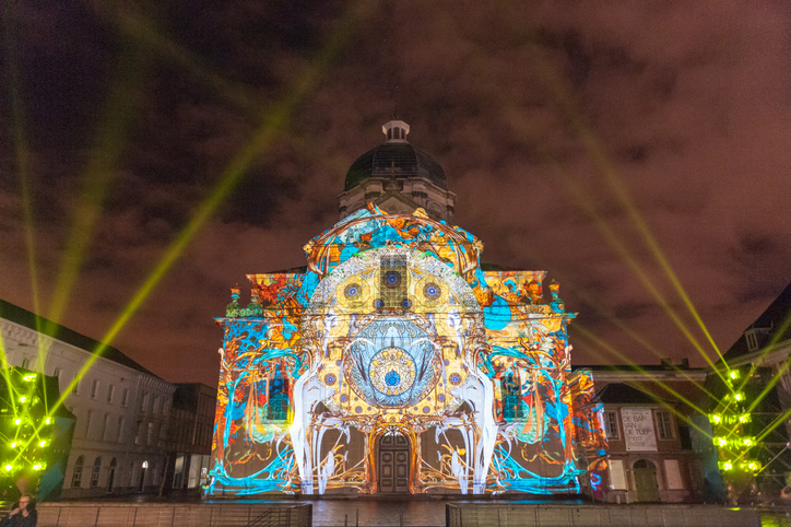 GHENT, BELGIUM - FEBRUARY 2, 2018. The Light festival in the city center of Ghent. The light festival is a famous festival in the inner city of Ghent, organized every three years.