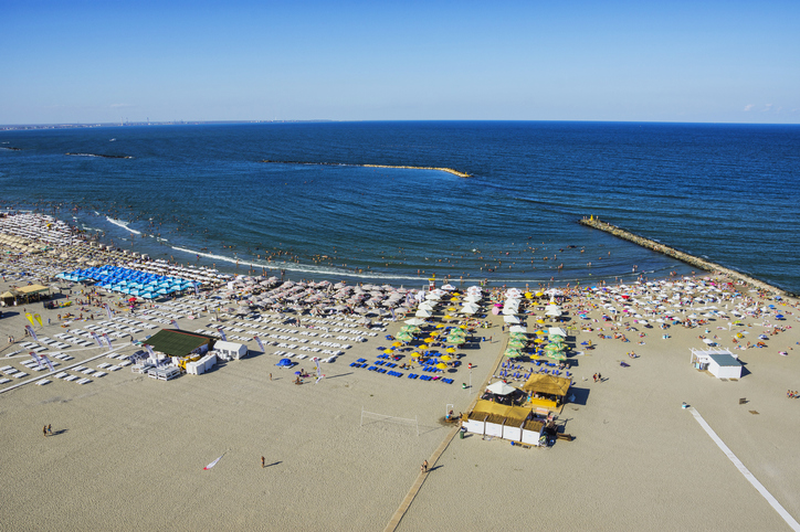MAMAIA, CONSTANTA COUNTY, ROMANIA - AUGUST 11, 2018. Mamaia beach on the Black sea coast -  view from Sky View Park Hotel, top summer attraction in Romania.