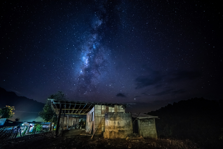 Chiang Dao, Thailand, we can see the Milky Way galaxy and stars in the evening sky. The place is famous and popular among travelers.
