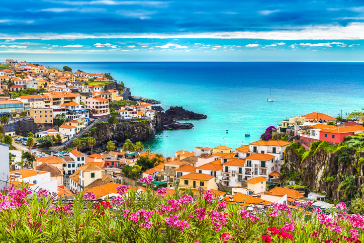 Panoramic view over Camara de Lobos, Madeira island, Portugal
