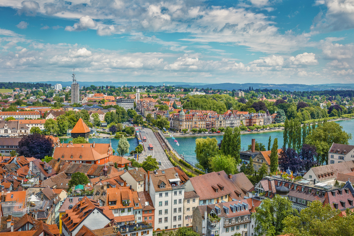 A view of Bodensee from Munster of Konsnanz city.Germany.
