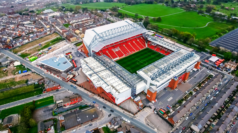 UK, Liverpool- August 05, 2017: Aerial View Photo of Anfield Stadium in Liverpool. Iconic football ground and home of one of England's most successful sides, Liverpool FC