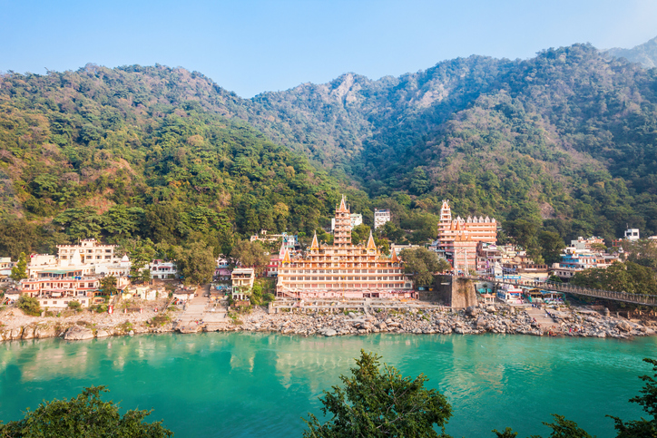 RISHIKESH, INDIA - NOVEMBER 12, 2015: Trayambakeshwar temple in Rishikesh, India. Trayambakeshwar is believed to be one of the twelve Jyotirlingas of Lord Shiva.