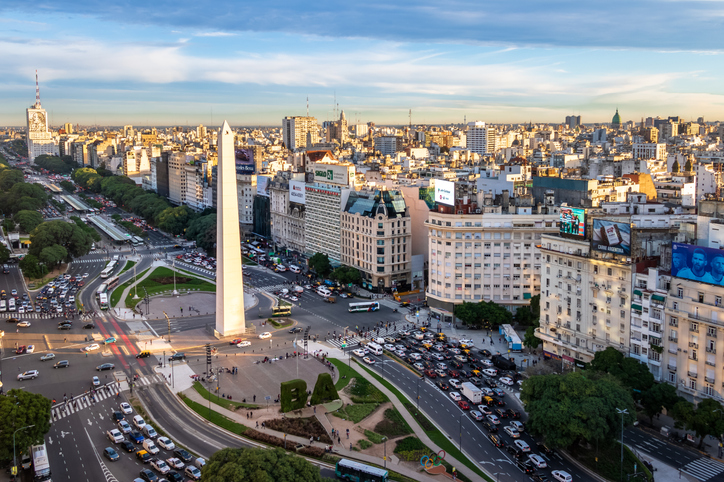 Buenos Aires, Argentina - May 15, 2018: Aerial view of Buenos Aires and 9 de julio avenue - Buenos Aires, Argentina