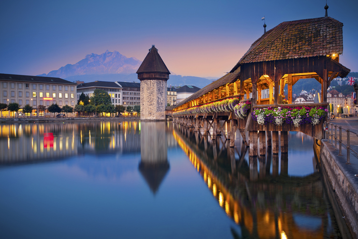 Image of Lucerne, Switzerland during twilight blue hour.